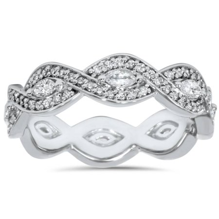 3/4ct Marquise & Diamond Stackable Infinity Eternity Wedding Ring 14K White Gold - image 4 de 4
