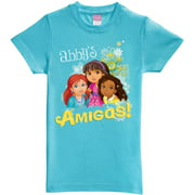 Personalized Dora and Friends Amigas Girls' Fitted Tee, Aqua