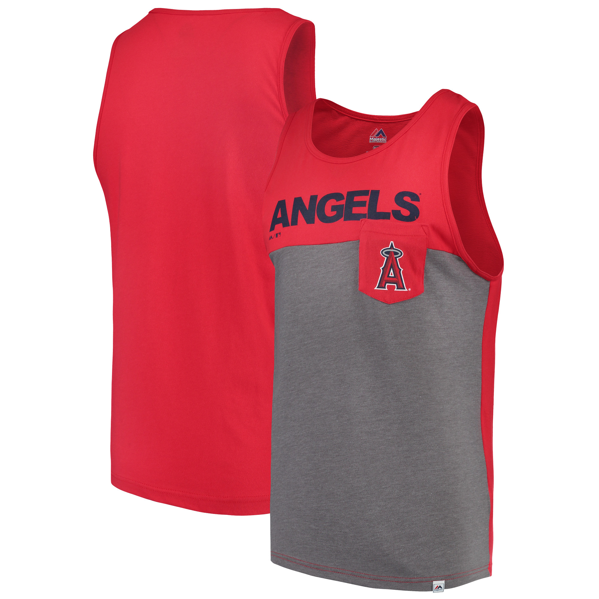 Los Angeles Angels Majestic Throw the Towel Pocket Tank Top - Red/Gray