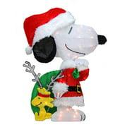 Northlight Seasonal Peanuts Pre-Lit 2D Snoopy with Santa's Toy Bag Christmas Yard Art Decoration