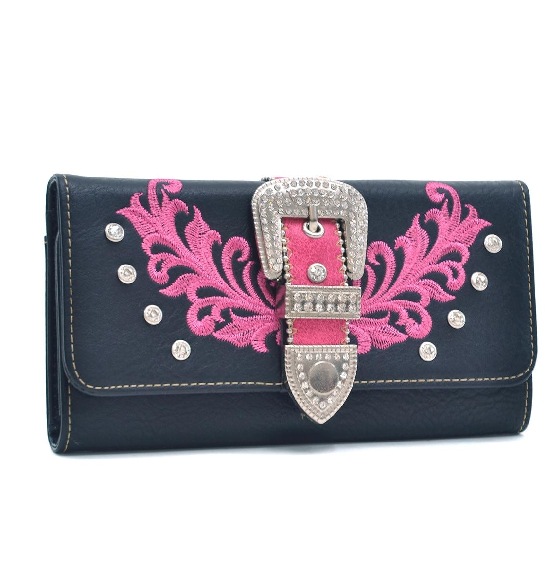 Dasein Faux Leather Rhinsetone Wallet