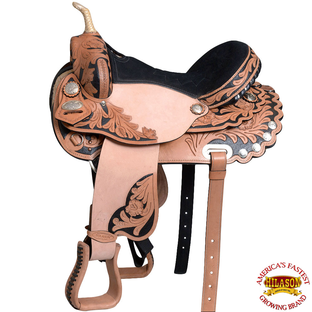 "14"" Western Horse Saddle Leather Flex Trail Barrel Racing Hilason T200"