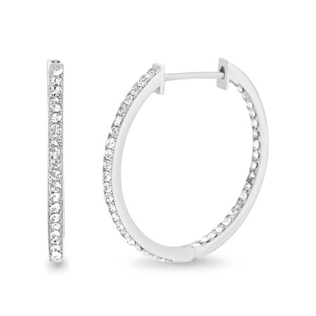 Lesa Michele Women's Faceted Crystal Inside Outside Hoop Earrings in Rhodium Plated Sterling Silver Made With Swarovski Crystals (Color: Crystal)