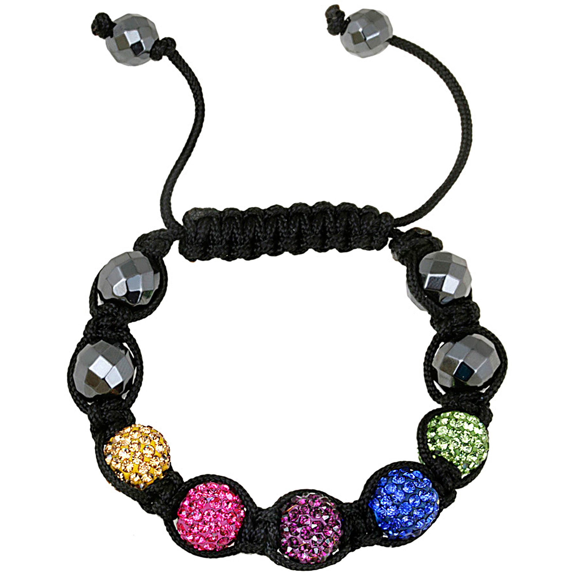 Crystal Assorted Color Fireball & Hematite 10mm Shamballa Adjustable Bracelet, 7.5""