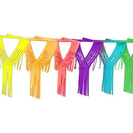 12 Foot Long Rainbow Multicolored Paper Tissue Garland Drop Fringe String Banner Party Decorations by Super Z Outlet](Fringe Garland)
