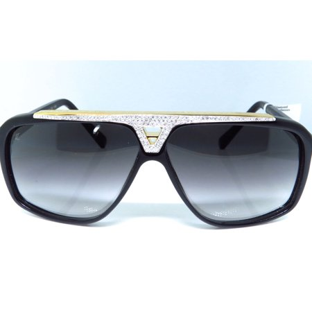 9a53d4e727007 Louis Vuitton - Louis Vuitton Louis Vuitton Diamond Aviator Sunglasses  Evidence Black   Gold Z0350W 5.0 Ct. - Walmart.com