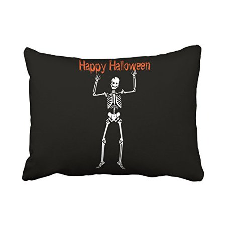 WinHome Vintage Fun Happy Halloween skeleton Chic Pattern Black And White Polyester 20 x 30 Inch Rectangle Throw Pillow Covers With Hidden Zipper Home Sofa Cushion Decorative Pillowcases](Vintage Halloween Black And White)