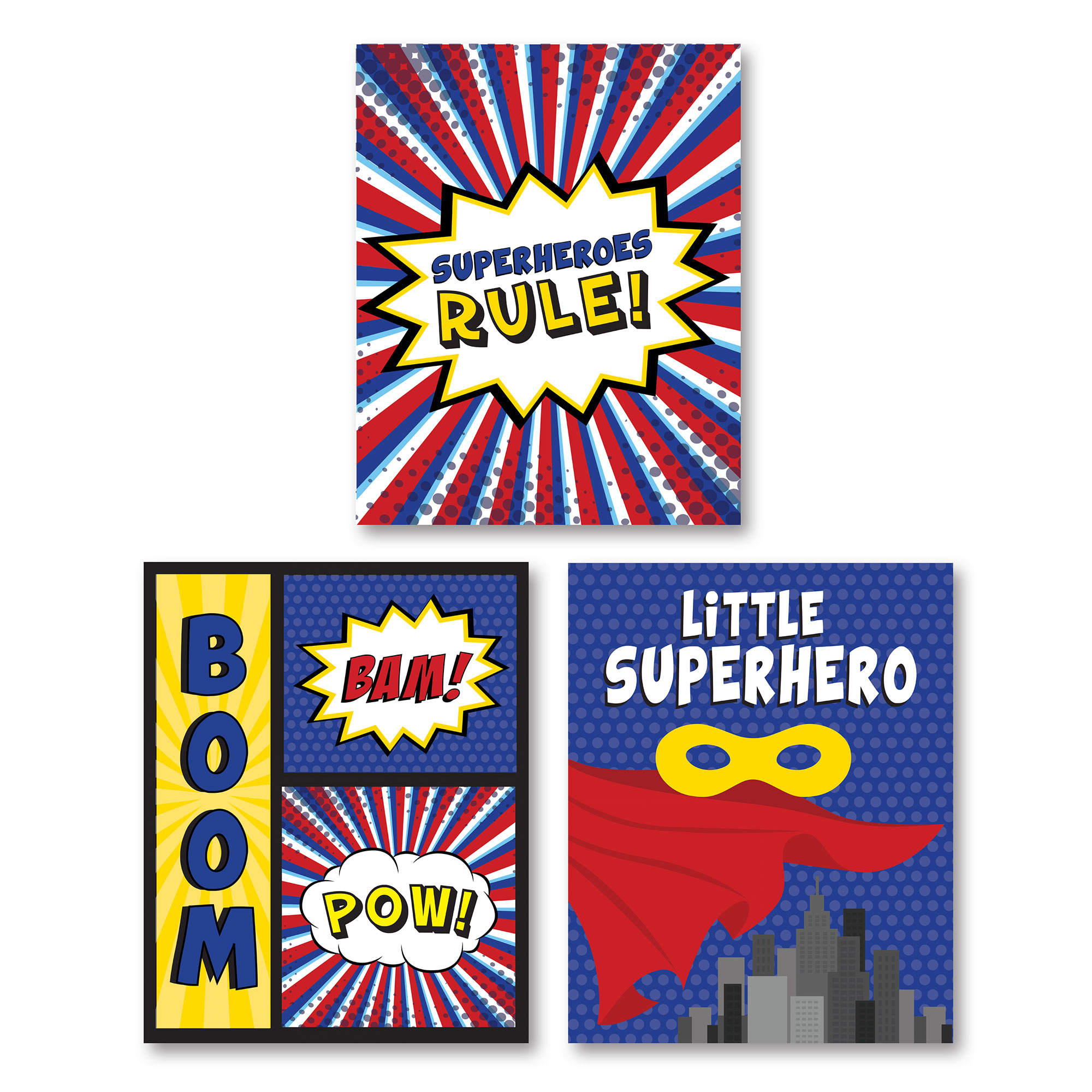 """Adorable Red, Blue and Yellow """"Superheroes Rule,"""" """"Boom, Bam, Pow"""" and """"Little Superhero"""" Set, Perfect for a Child's Room or Nursery; Three 11x14in Unframed Paper Posters"""