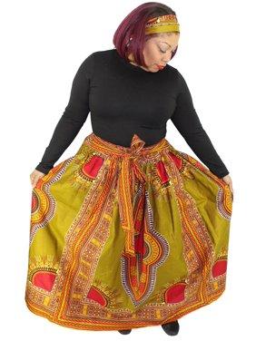 Women's Wax Dashiki Skirt Bow Tie Elastic Waist Ankara Max
