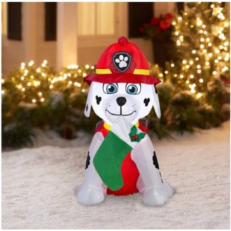 paw patrol christmas airblown inflatable marshall holiday decor 4ft tall by gemmy