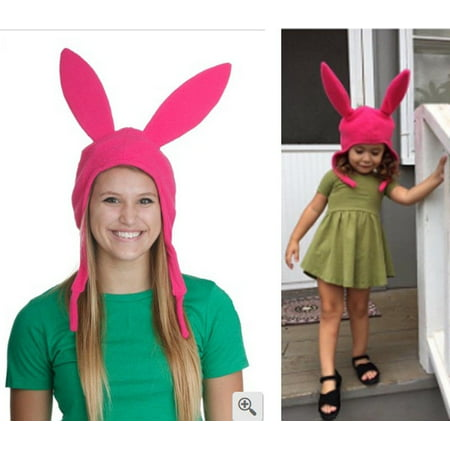 Group Halloween Costumes To Make (Family Matching Hat Louise Pink Ears Hat Bobs Burgers Cosplay Costume)