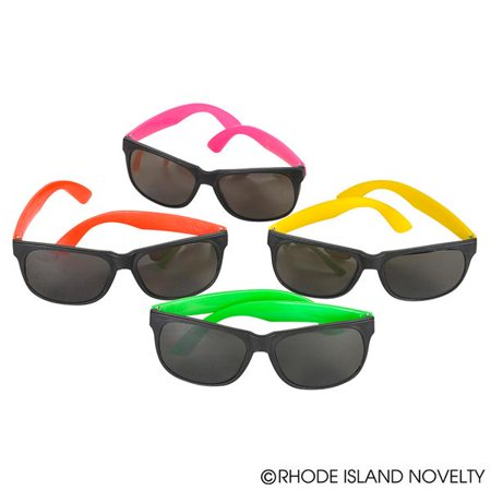 Assorted Cool Colors Style Neon Party Sunglasses - Fun Gift, Party Favors, Party Toys, Goody Bag Favors, Birthdays for Kids & Adults (Pack of 6) - Ideas For Childrens Halloween Birthday Party