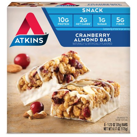 Atkins Cranberry Almond Bars, 1.2oz, 5-pack (Snack)