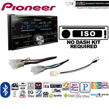 Pioneer FH-S701BS Double Din Radio Install Kit with CD Player Bluetooth Fits Non Amplified 1987-2009 Toyota 4Runner, 1987-2015 Camry, 1995-2015 Tacoma + Sound of Tri-State Lanyard (2001 Toyota Camry Cd Player)