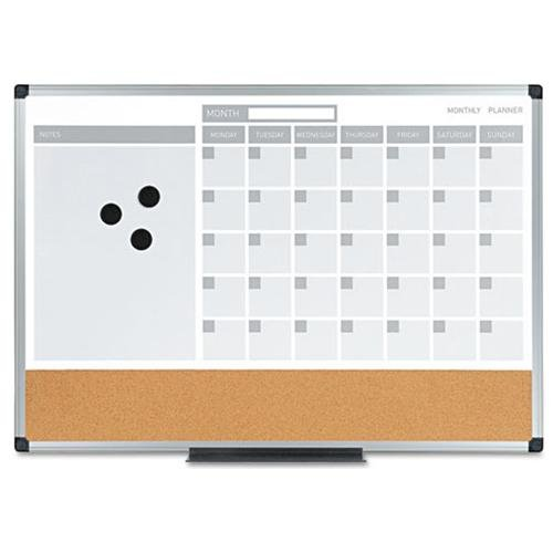 Mastervision 3-in-1 Combo Monthly Calendar Board - Monthly - 4 Month - Aluminum, Cork, Lacquered Steel - Silver, Gray (mb3507186)