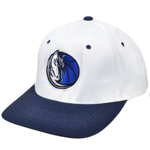 NBA Dallas Mavericks Flat Bill Snapback Licensed Adidas Hat Cap White Navy...