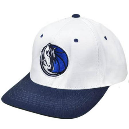 NBA Dallas Mavericks Flat Bill Snapback Licensed Adidas Hat Cap White Navy Blue