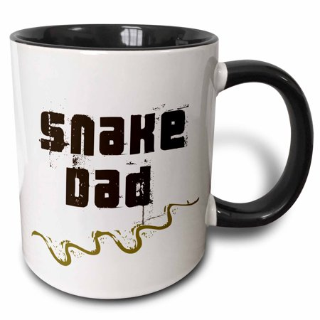 31 Black Track (3dRose Snake Dad - for snake reptile lovers enthusiasts and pet owners - with curvy track marks - Serpentes - Two Tone Black Mug, 15-ounce)