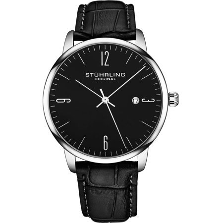 Forte' Series: 3997A.2 Miyota Japanese Quartz Mens Watch, Classic Design Black Dial, Silver Case, Black Leather