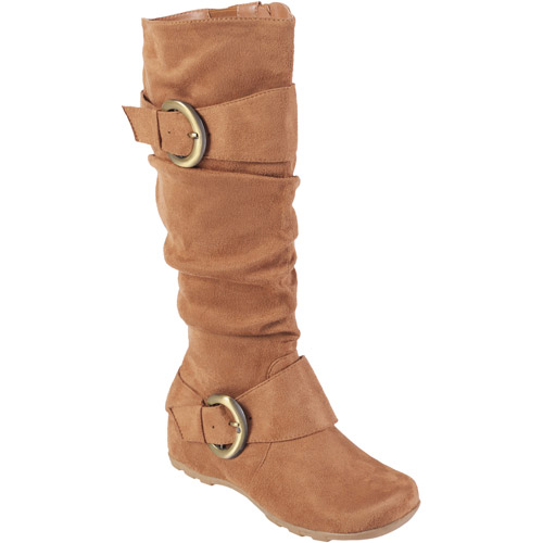 Brinley Co. Women's Buckle Accent Slouchy Mid-calf Wide Width Boots