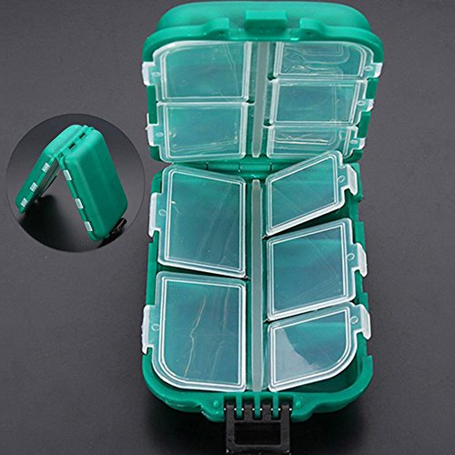 Yosoo Small 10 Compartments Waterproof Hard Fishing Tackle Box Case, Hooks Lure Baits Storage Box by