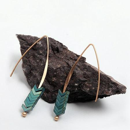 Hematite Chevron Gold Plated Threader Earrings