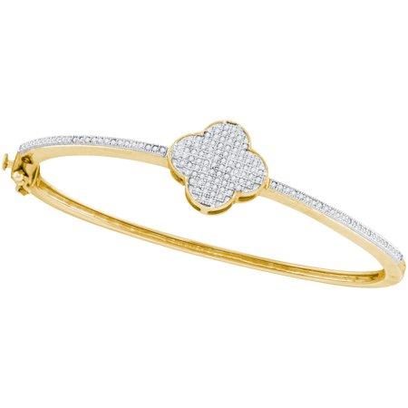 10kt Yellow Gold Womens Round Natural Diamond Cluster Bangle Fashion Bracelet (.37 cttw.)
