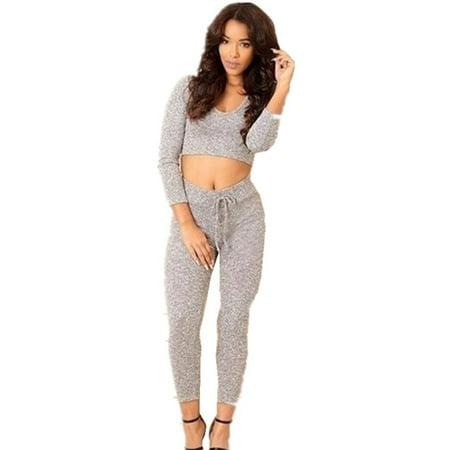 Skinny Casual 2 Pieces Set Women Long Sleeved Crop Tops & Pencil (Hood Top Pants)