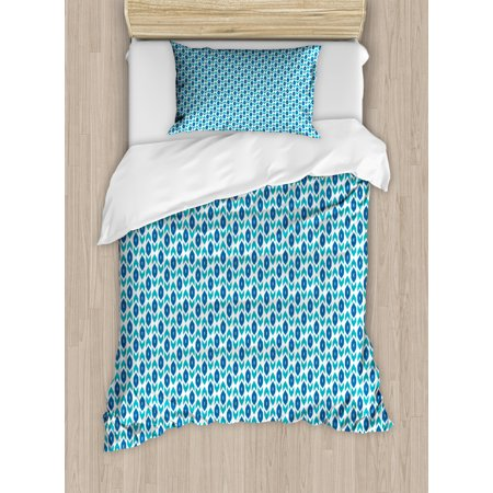 Ikat Duvet Cover Set, Nautical Inspired Color Palette Rhombus Arrow Shapes Africa Middle East Culture, Decorative Bedding Set with Pillow Shams, Blue Turquoise, by Ambesonne ()