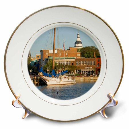 3dRose Annapolis city docks, Severn River, Maryland - US21 JME0005 - John and Lisa Merrill, Porcelain Plate, 8-inch