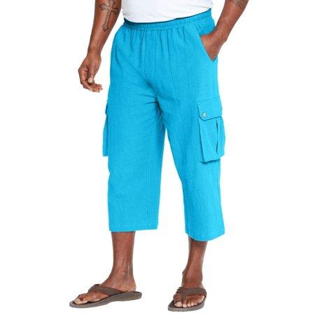 Kingsize Men's Big & Tall Judo Gauze Cotton Cargo Shorts With Full Elastic Waist