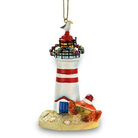 Cape Shore Coastal Beach Crab at Lighthouse Christmas Ornament Resin