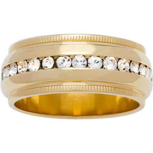 Simon Frank 'Beautiful Light' Collection Channel-set CZ Wedding Band Gold Overlay Size 8
