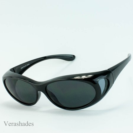 New 100%UV Polarized Sunglass cover wear over prescription Size M Black (Sun Wearing Shades)