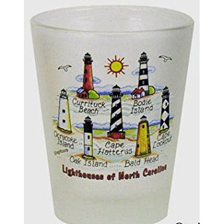 North Carolina Lighthouses of North Carolina Frosted Shot Glass