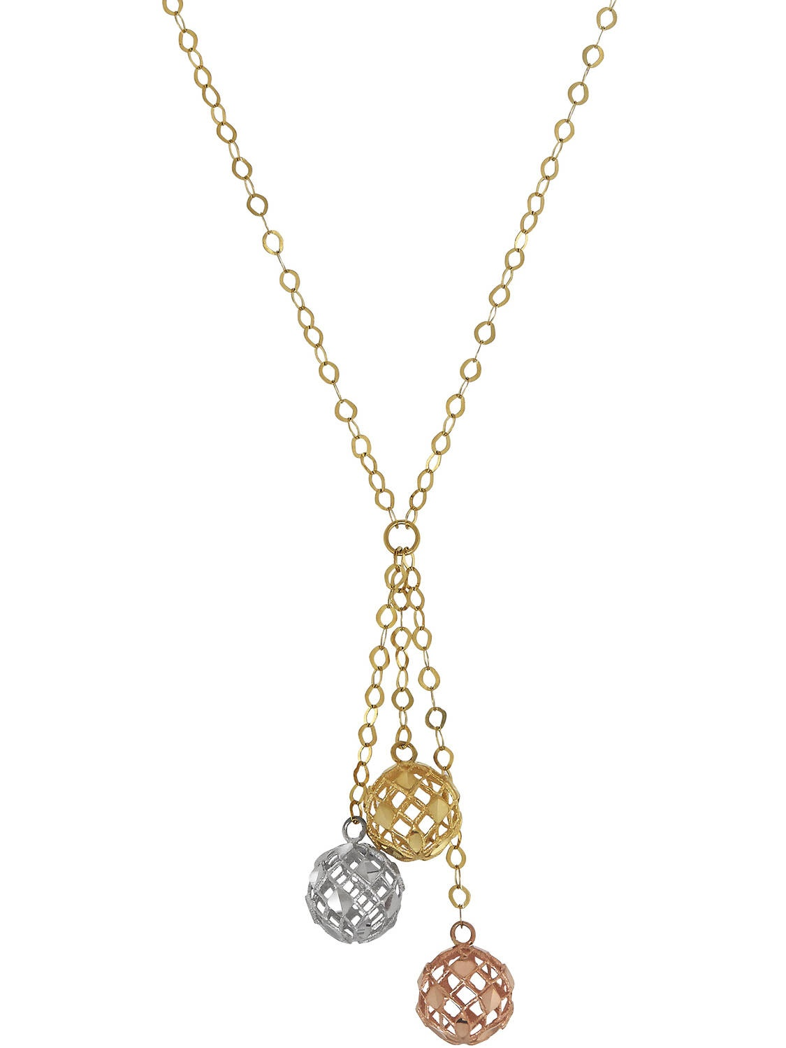 Simply Gold 10kt Tri-Tone Gold Triple Bead Lariat Necklace, 17""