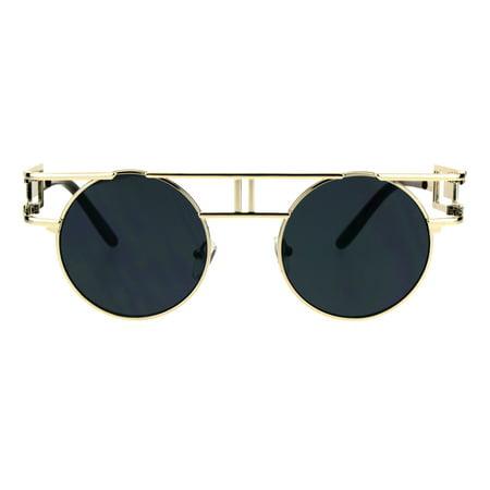 f21f7231b04 SA106 - Art Deco Nouveau Unique Hippie Groove Pimp Round Circle Lens  Sunglasses Light Gold Black - Walmart.com