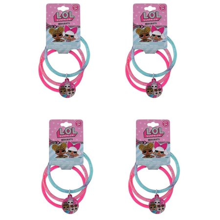 LOL Surprise Glitter Bangle Bracelets with Charms (12pc Set) Novelty Character Fashion Accessories