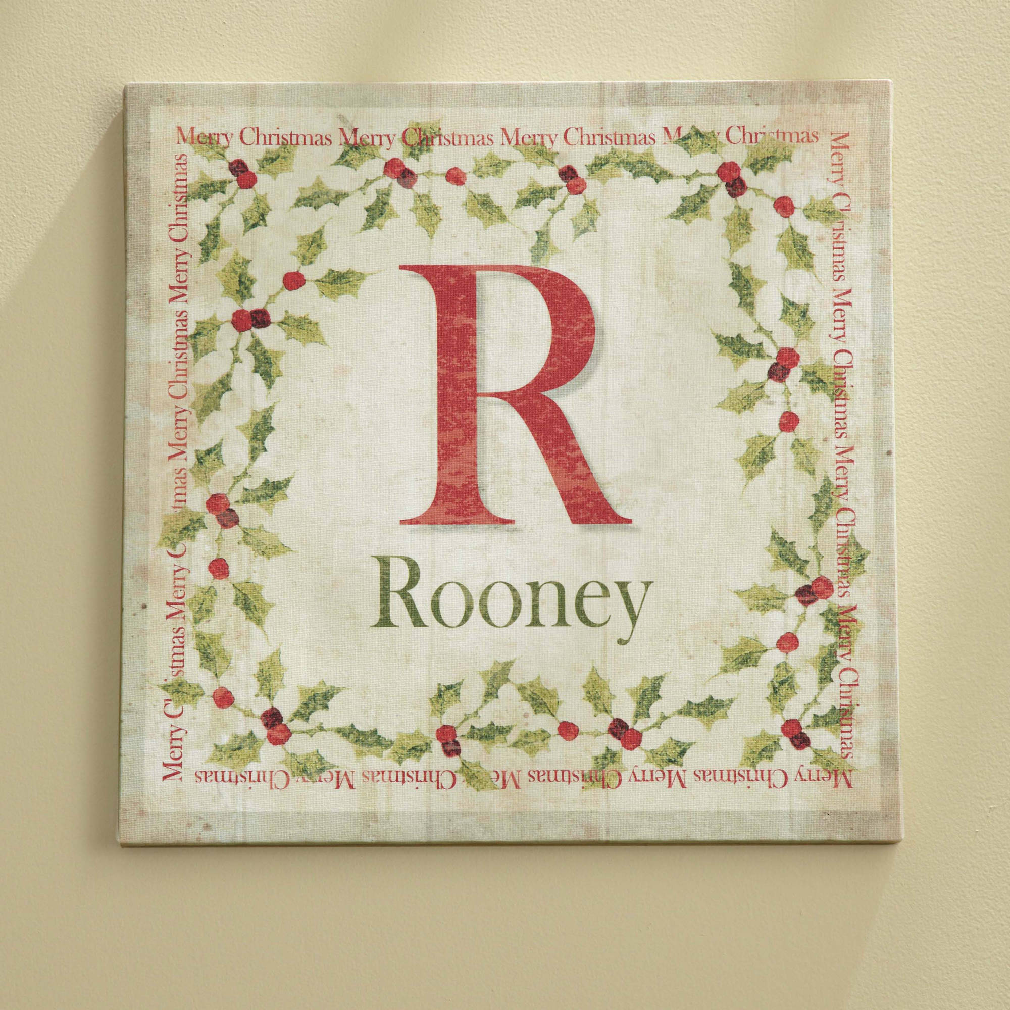 """Personalized """"Merry Christmas"""" Holly Canvas Wall Decor"""