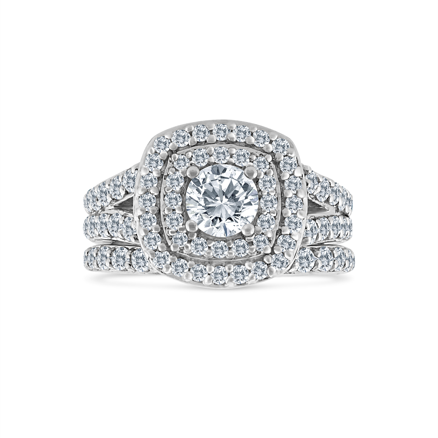 3.00ct Cushion Halo Diamond Engagement Wedding Ring Set 10K White Gold by Sk Jewel,Inc