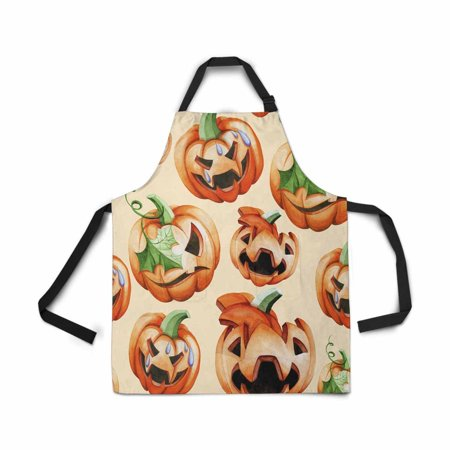 ASHLEIGH Treat Pumpkin Apron Kitchen Cook for Women Men Girls Chef with Pockets Halloween Harvest Funny Adjustable Bib Baking Paint Cooking Apron Dress - Halloween Cock