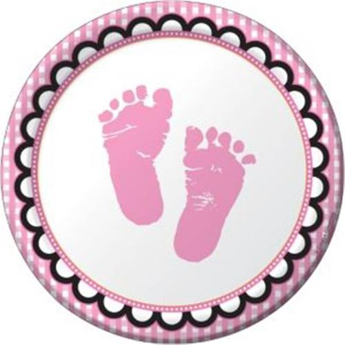 Sweet Baby Feet Pink Baby Shower Cake Plates (8 Pack) - Baby Shower Party Supplies
