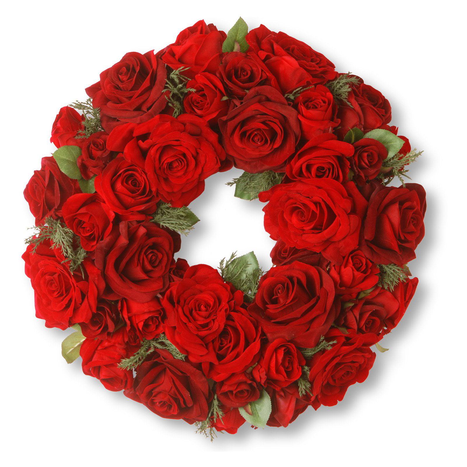"""15"""" Velvet Red Rose Wreath"""
