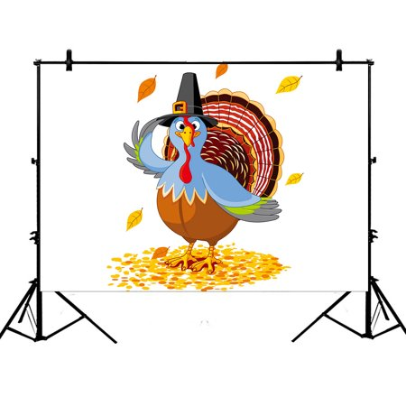 YKCG 7x5ft Thanksgiving Turkey with Pilgrim Hat Maple Leaves Photography Backdrops Polyester Photography Props Studio Photo Booth Props