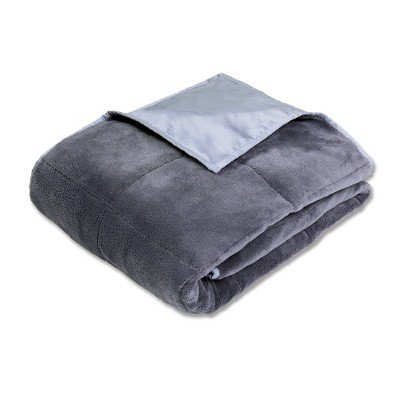 "50"" x 70"" Cooling 12lb Weighted Bed Blanket Gray - Calming Comfort"