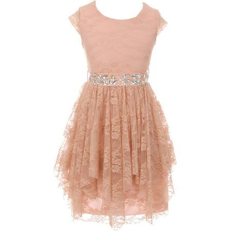 Little Girls Cap Sleeve Floral Lace Rhinestones Belt Asymmetrical Princess Flower Girl Dress Blush 4 (2J0K9S5)