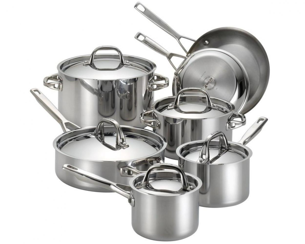 Anolon Tri-Ply Clad 12 Piece Cookware Set in Stainless Steel by Meyer Corp