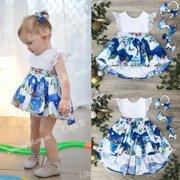 Christmas Newborn Baby Girl Kids Xmas Lace Romper Dress Party Dresses Costume