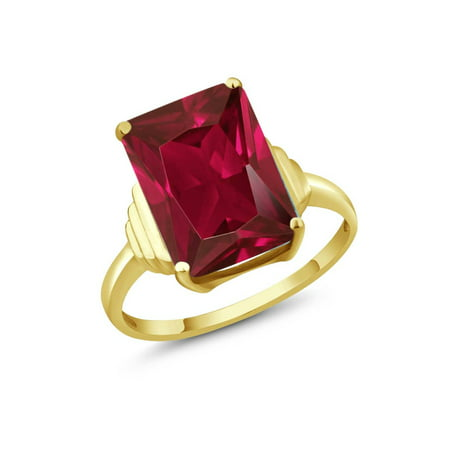 8.00 Ct Emerald Cut Red Created Ruby 18K Yellow Gold Plated Silver Ring
