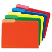 "Globe-weis Interior Hanging File Folder - Letter - 8.50"" X 11"" - 0.75"" Expansion - 1/3 Tab Cut - Assorted Position Tab Location - 11 Pt. - Card Stock - Red, Blue, Yellow, Green, Orange - (GLW11229)"